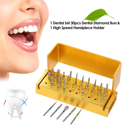 1 Dental Set 30pcs Dental Diamond Burs Drill Disinfection + Aluminum Block High Speed Handpiece HolderHealth &amp; Beauty<br>1 Dental Set 30pcs Dental Diamond Burs Drill Disinfection + Aluminum Block High Speed Handpiece Holder<br>