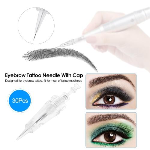 30Pcs Eyebrow Tattoo Needle With Cap Disposable Sterilized Tattoo Needle for Tattoo Eyebrow Pen Machine 1DHealth &amp; Beauty<br>30Pcs Eyebrow Tattoo Needle With Cap Disposable Sterilized Tattoo Needle for Tattoo Eyebrow Pen Machine 1D<br>