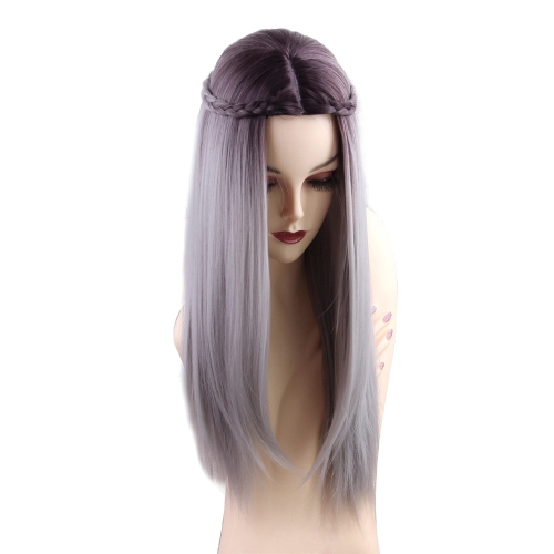 1pc Wig Long Straight Gradient Color Gray with White Braids Cosplay Hair Costume Heat Resistant WomanHealth &amp; Beauty<br>1pc Wig Long Straight Gradient Color Gray with White Braids Cosplay Hair Costume Heat Resistant Woman<br>