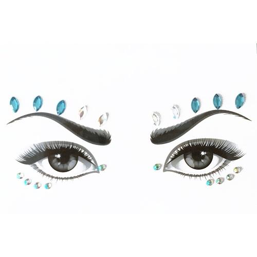 FAI DA TE Adesivi per il viso Gemme Strass Tatuaggio Temporaneo Festa di Compleanno Party Glitter Adesivi Flash Tatuaggi Temporanei Adesivo Facile Da Operare