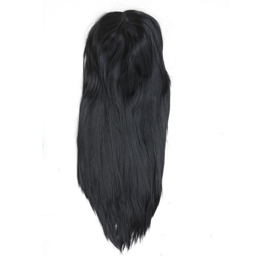 Moda feminina perucas de cabelo longo preto em linha reta