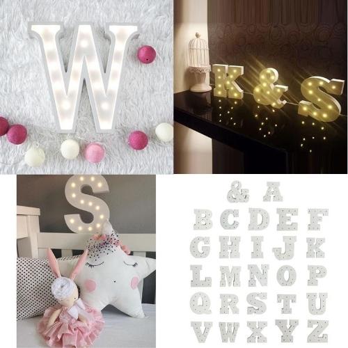 Lettre A en bois 26 lettre Alphabet Night LED lampe élèvent la lumière