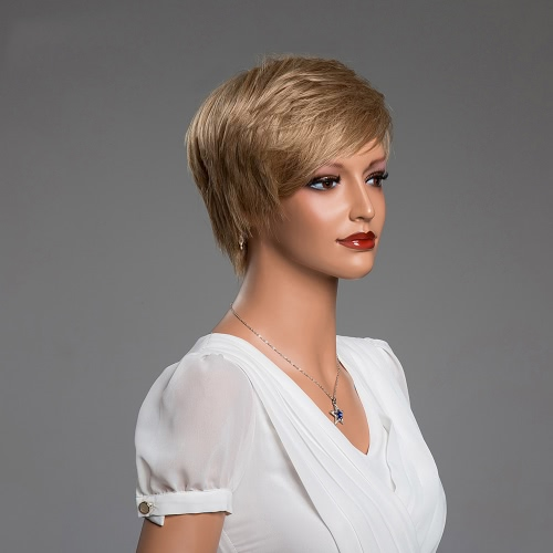 11 Short Hair Woman Light Brown Wigs Full Head Real Human Hair Wigs Cosplay Party Daily Masquerade Costume Hair Extension ToolHealth &amp; Beauty<br>11 Short Hair Woman Light Brown Wigs Full Head Real Human Hair Wigs Cosplay Party Daily Masquerade Costume Hair Extension Tool<br>
