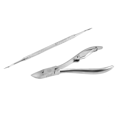 2pcs Stainless Steel Nail Cuticle Scissor + Ingrowing Toenail Cleaner Nail Clippers Finger and Toe Nail Nipper Nail Manicure PedicHealth &amp; Beauty<br>2pcs Stainless Steel Nail Cuticle Scissor + Ingrowing Toenail Cleaner Nail Clippers Finger and Toe Nail Nipper Nail Manicure Pedic<br>