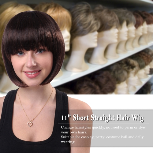 11 Hair Wig Woman Short Straight Hair Girl Hairpiece Hair Extension Cosplay Hair Hairdressing Tool Dark BrownHealth &amp; Beauty<br>11 Hair Wig Woman Short Straight Hair Girl Hairpiece Hair Extension Cosplay Hair Hairdressing Tool Dark Brown<br>