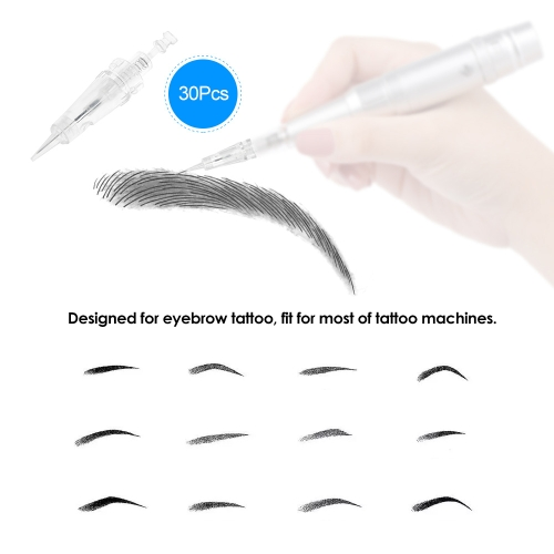 30Pcs Eyebrow Tattoo Needle With Cap Disposable Sterilized Tattoo Needle for Tattoo Eyebrow Pen Machine 1DHealth &amp; Beauty<br>30Pcs Eyebrow Tattoo Needle With Cap Disposable Sterilized Tattoo Needle for Tattoo Eyebrow Pen Machine 1D<br>