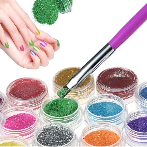 Nail Art Manicure Set 12 Colors Glitter Powder and 2 Way Nail UV Gel Brush Pen and Rhinestones Decoration Nail Art DIY KitHealth &amp; Beauty<br>Nail Art Manicure Set 12 Colors Glitter Powder and 2 Way Nail UV Gel Brush Pen and Rhinestones Decoration Nail Art DIY Kit<br>