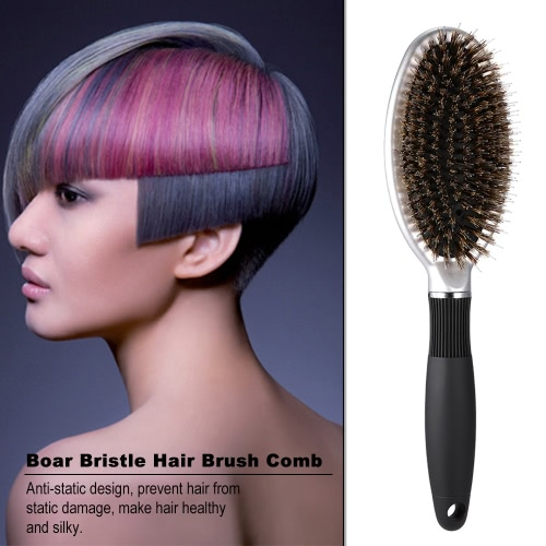 Boar Bristle &amp; Nylon Hair Brush Oval Anti-static Paddle Comb Scalp Massage Hairbrush ABS Handle Care ToolHealth &amp; Beauty<br>Boar Bristle &amp; Nylon Hair Brush Oval Anti-static Paddle Comb Scalp Massage Hairbrush ABS Handle Care Tool<br>