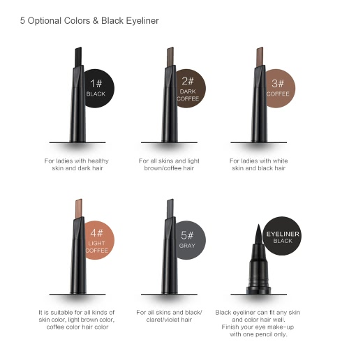 Huamianli Double-end Eyebrow Pencil &amp; Eyeliner Long-lasting Waterproof Eyebrow Enhancer Pen Eye Liner 5 Optional ColorsHealth &amp; Beauty<br>Huamianli Double-end Eyebrow Pencil &amp; Eyeliner Long-lasting Waterproof Eyebrow Enhancer Pen Eye Liner 5 Optional Colors<br>