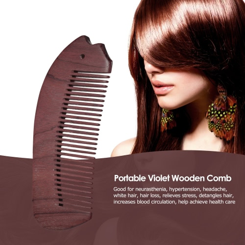 Portable Wooden Comb Anti Static Natural Violet Wood Hair Comb Wide Teeth Wood Massage Comb Health Care HairbrushHealth &amp; Beauty<br>Portable Wooden Comb Anti Static Natural Violet Wood Hair Comb Wide Teeth Wood Massage Comb Health Care Hairbrush<br>