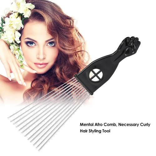 Metal Afro Comb African American Pick Comb Hair Brush Hairdressing Styling Tool Black FistHealth &amp; Beauty<br>Metal Afro Comb African American Pick Comb Hair Brush Hairdressing Styling Tool Black Fist<br>