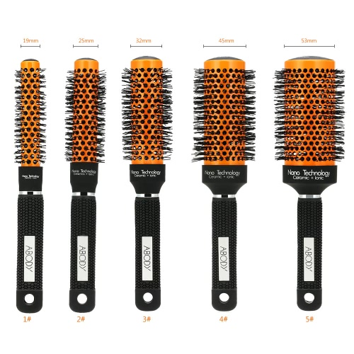 Abody Ceramic &amp; Nylon Hair Round Brush Quiff Roller Comb for DIY Hairstyle Massager Hairbrush Curly Bomb 45mm DiameterHealth &amp; Beauty<br>Abody Ceramic &amp; Nylon Hair Round Brush Quiff Roller Comb for DIY Hairstyle Massager Hairbrush Curly Bomb 45mm Diameter<br>
