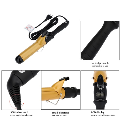 38mm Ceramic Barrel Hair Curling Iron Hair Wand Curler Roller with Glove Haircare Styling Tool EU Plug 220-240VHealth &amp; Beauty<br>38mm Ceramic Barrel Hair Curling Iron Hair Wand Curler Roller with Glove Haircare Styling Tool EU Plug 220-240V<br>