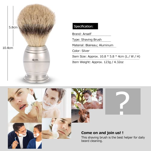 Anself Blaireau Shaving Brush Pure Badger Beard Cleaning Brush Aluminum Handle Male Facial Cleaning ToolHealth &amp; Beauty<br>Anself Blaireau Shaving Brush Pure Badger Beard Cleaning Brush Aluminum Handle Male Facial Cleaning Tool<br>