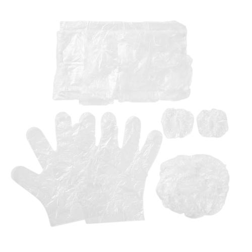 10個セット/ 4個使い捨てプラスチック製ヘアケア用染色具キット使い捨てサロンヘアキャップ耳当て手袋エプロンホームバーバー