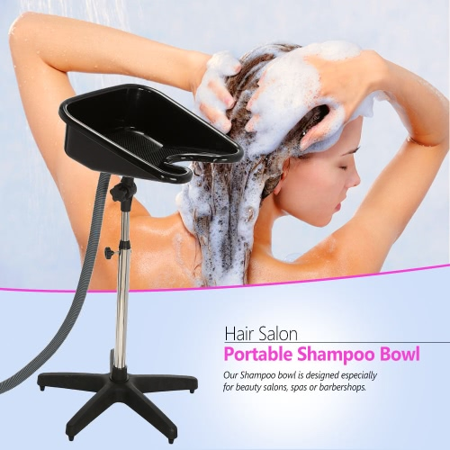 Hair Salon Portable Shampoo Sink Spa Hair Shampoo Bowl Basin Adjustable Height Sink Basin with Drain Beauty Salon Equipment BlackHealth &amp; Beauty<br>Hair Salon Portable Shampoo Sink Spa Hair Shampoo Bowl Basin Adjustable Height Sink Basin with Drain Beauty Salon Equipment Black<br>
