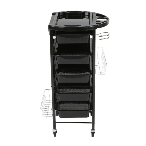 Tray Cart Salon Trolley Hair Rolling Cart Hairdressing Storage Cart Black Hair Drawers With Hanging Baskets Trolley for BarberHealth &amp; Beauty<br>Tray Cart Salon Trolley Hair Rolling Cart Hairdressing Storage Cart Black Hair Drawers With Hanging Baskets Trolley for Barber<br>