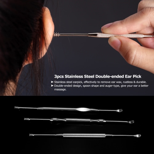 3pcs Stainless Steel Ear Pick Double-ended Earpick Ear Wax Curette Remover Ear Cleaner Earpick Spoon Clean EarHealth &amp; Beauty<br>3pcs Stainless Steel Ear Pick Double-ended Earpick Ear Wax Curette Remover Ear Cleaner Earpick Spoon Clean Ear<br>