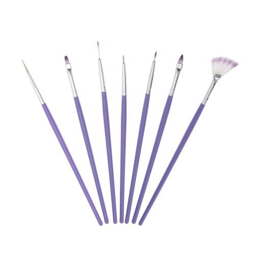 7pcs del clavo púrpura del diseño del arte del sistema de cepillo de uñas de acrílico de la pluma Cepillo para la pintura que puntea el color del gradiente de nylon Cepillo del ventilador de la forma DIY Herramientas de uñas