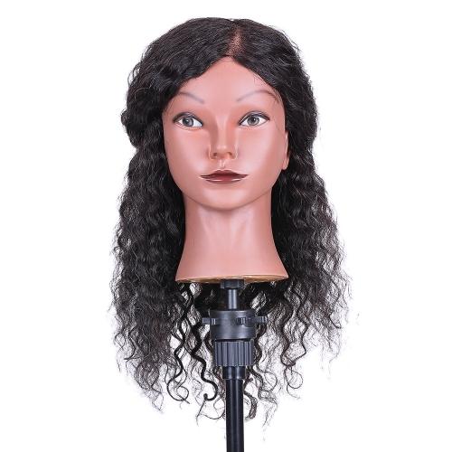 Cabeza de maniquí de pelo rizado cabeza de entrenamiento de peluquería para la práctica del peinado del cabello Trenza de pelo cabeza de maniquí con 100% cabello humano negro