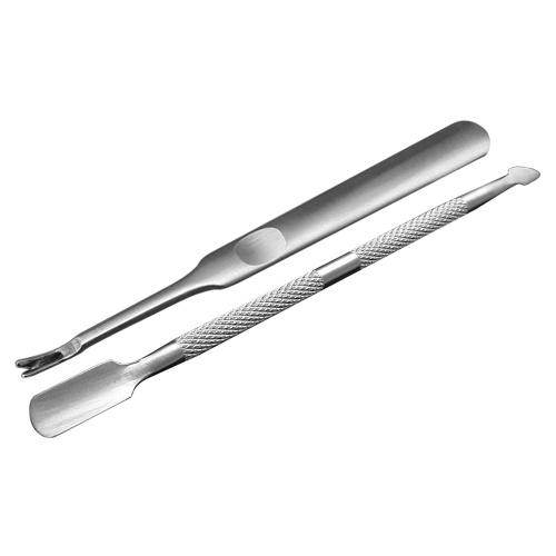 Set de 2 piezas de acero inoxidable de doble punta para uñas y cutículas para uñas