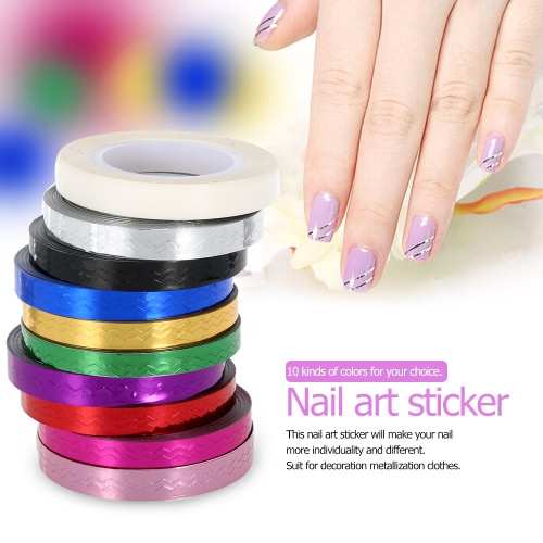 10Pcs Mixed Colors Nail Art Foil Sticker Rolls Striping Tape Lace Line DIY Styling Nail Art Tips Decoration Sticker Fashion DesignHealth &amp; Beauty<br>10Pcs Mixed Colors Nail Art Foil Sticker Rolls Striping Tape Lace Line DIY Styling Nail Art Tips Decoration Sticker Fashion Design<br>