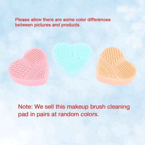 Silicone Makeup Brush Cleaning Mat Cosmetic Brush Washing Pad Heart-shape Brush Scrubber 3 ColorsHealth &amp; Beauty<br>Silicone Makeup Brush Cleaning Mat Cosmetic Brush Washing Pad Heart-shape Brush Scrubber 3 Colors<br>