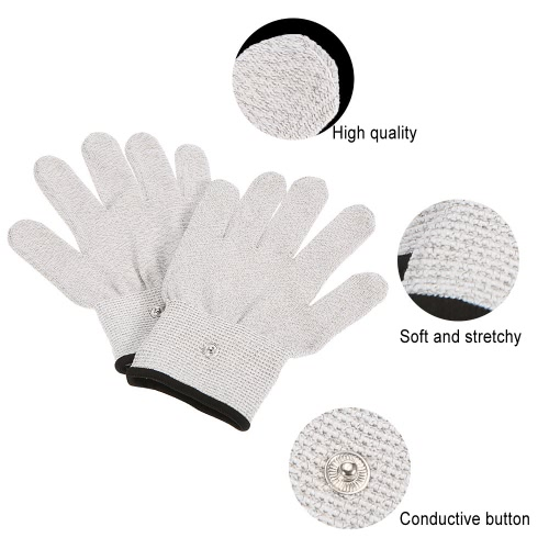 Conductive Glove 1 Pair Electrode Glove for Muscle Pulse Massage Physiotherapy Electrotherapy Massage Glove Silver Conductive FibeHealth &amp; Beauty<br>Conductive Glove 1 Pair Electrode Glove for Muscle Pulse Massage Physiotherapy Electrotherapy Massage Glove Silver Conductive Fibe<br>