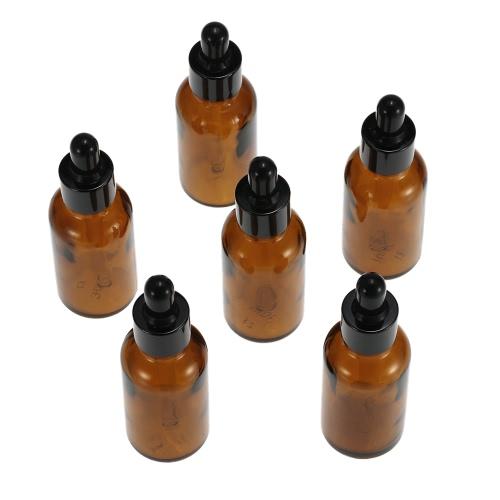 6pcs 30ml Tawny botellas de aceite esencial de vidrio con gotero botella tarros de cabeza redonda aceite esencial tarros con la pipeta