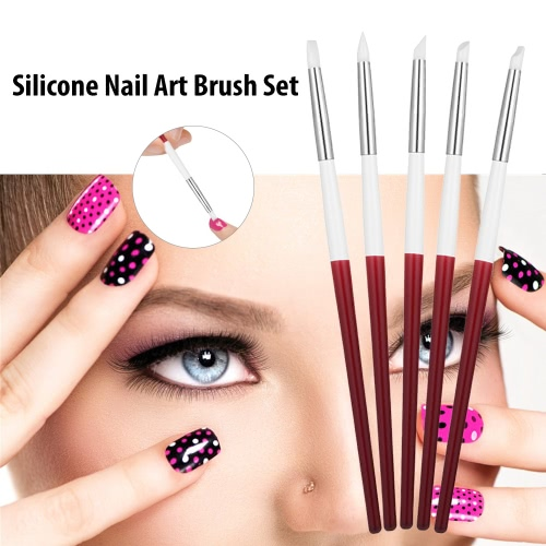 5pcs Silicone Nail Art Brush Set UV Gel Brush Nail Carving Sculpture Embossing Pen UV Gel Polish Brush DIY Manicure ToolHealth &amp; Beauty<br>5pcs Silicone Nail Art Brush Set UV Gel Brush Nail Carving Sculpture Embossing Pen UV Gel Polish Brush DIY Manicure Tool<br>