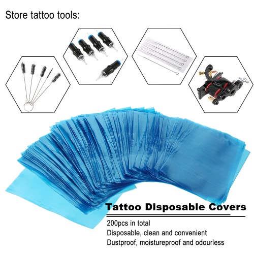 200pcs Tattoo Disposable Covers Clip Cord &amp; Tattoo Machine Bags Cleaning Supply Set BlueHealth &amp; Beauty<br>200pcs Tattoo Disposable Covers Clip Cord &amp; Tattoo Machine Bags Cleaning Supply Set Blue<br>