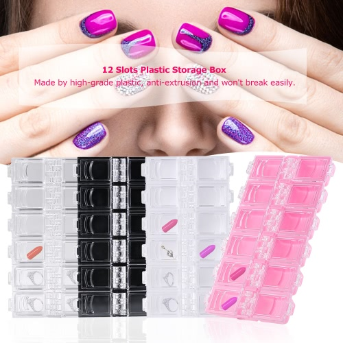 12 Slots Plastic Storage Box Nail Art Bead Paillette Powder Organizer Transparent Random Colors Gems Earrings Rhinestone ContainerHealth &amp; Beauty<br>12 Slots Plastic Storage Box Nail Art Bead Paillette Powder Organizer Transparent Random Colors Gems Earrings Rhinestone Container<br>