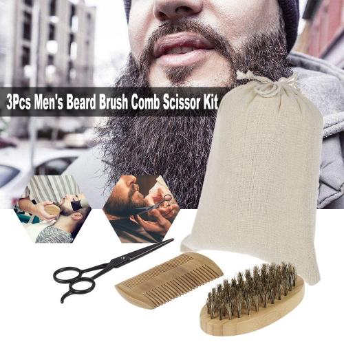 3Pcs Mens Beard Brush Comb Scissor Kit Boar Bristle Shaving Brush + Verawood Beard Comb + Stainless Steel Scissor Male Facial HaiHealth &amp; Beauty<br>3Pcs Mens Beard Brush Comb Scissor Kit Boar Bristle Shaving Brush + Verawood Beard Comb + Stainless Steel Scissor Male Facial Hai<br>