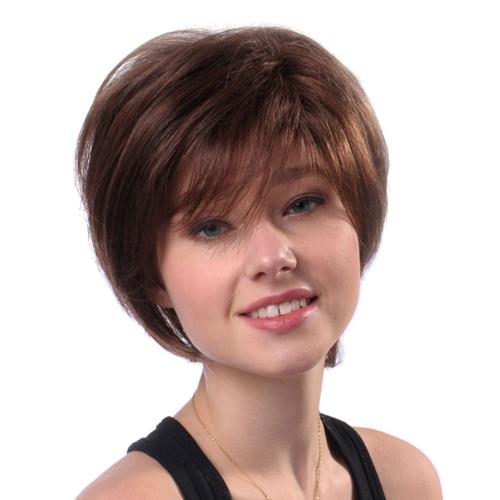 11 '' Pelucas Mujer Peluca Corta Recta Marrón Peluca Pelo Real Humana Resistente Al Calor