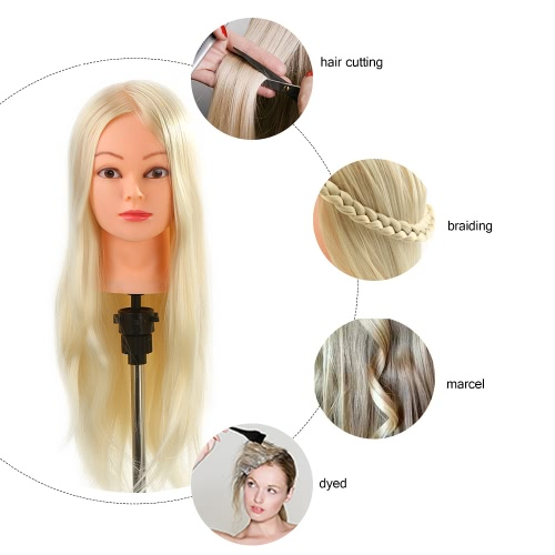 Salon Head 26 30% Real Human Hair Hairdressing Training Practice Head with Clamp Light Yellow Hair Dummy Head ModelHealth &amp; Beauty<br>Salon Head 26 30% Real Human Hair Hairdressing Training Practice Head with Clamp Light Yellow Hair Dummy Head Model<br>