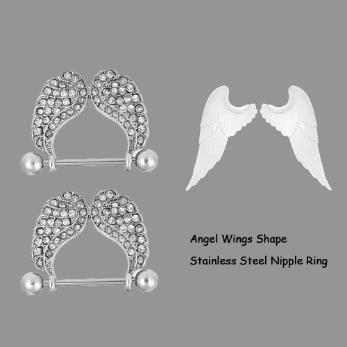 Nipple Bar Ring Barbell Stainless Steel Dangling Angel Wings Shield Body Piercing Jewelry for Men &amp; Women A CoupleHealth &amp; Beauty<br>Nipple Bar Ring Barbell Stainless Steel Dangling Angel Wings Shield Body Piercing Jewelry for Men &amp; Women A Couple<br>