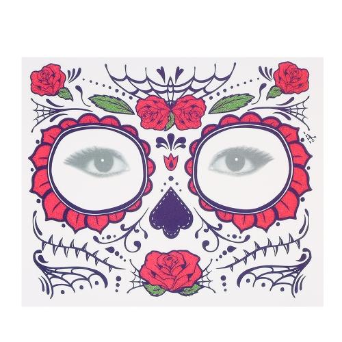 المؤقتة الوشم ملصق الندوب الإرهاب هالوين الزهور نمط عيون الوجه ملصقات ماكياج المرحلة