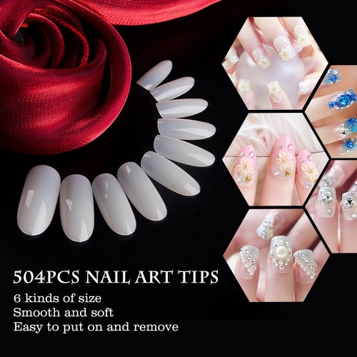 504pcs Celar Nail Art Tips False Nails Round Full Cover Tips for Nail Salon DIY Nail Tip 6 Size TransparentHealth &amp; Beauty<br>504pcs Celar Nail Art Tips False Nails Round Full Cover Tips for Nail Salon DIY Nail Tip 6 Size Transparent<br>
