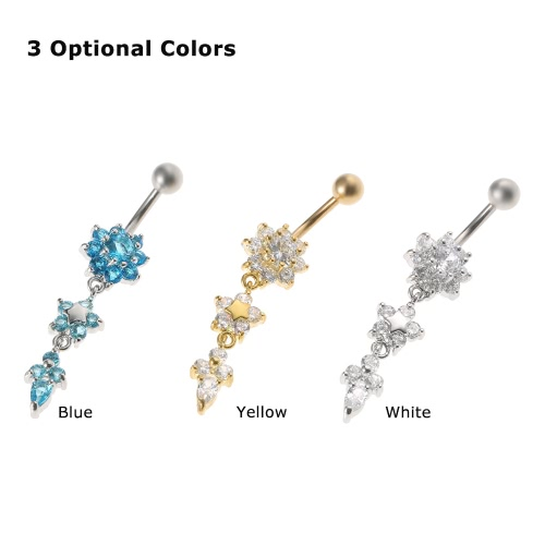 1Pc Belly Ring Navel Button Bar Gold Plated Dangle Flower Body Piercing Jewelry Stainless Steel Piercing Bar YellowHealth &amp; Beauty<br>1Pc Belly Ring Navel Button Bar Gold Plated Dangle Flower Body Piercing Jewelry Stainless Steel Piercing Bar Yellow<br>