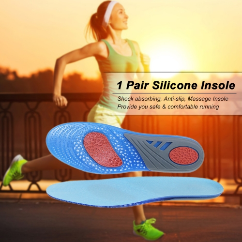 1 Pair Silicone Insole Shock Absorbing Anti-slip Massage Insole Shoes Pad Sports Sneakers Insert Cushion For Men &amp; WomenHealth &amp; Beauty<br>1 Pair Silicone Insole Shock Absorbing Anti-slip Massage Insole Shoes Pad Sports Sneakers Insert Cushion For Men &amp; Women<br>