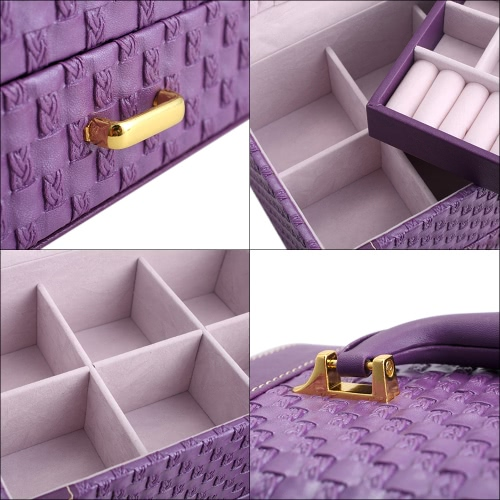 Portable Handheld Jewelry Display Makeup Casket Box 3 Layers Holder Organizer Case Drawer for Gift Knit Pattern Watch Necklace RinHealth &amp; Beauty<br>Portable Handheld Jewelry Display Makeup Casket Box 3 Layers Holder Organizer Case Drawer for Gift Knit Pattern Watch Necklace Rin<br>