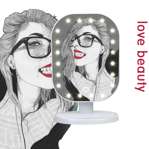 Fashion High Quality 20 LED Light Lady Girl Beauty Cosmetic Square Vanity Desk Stand Makeup Mirror ABS Touch ScreenHealth &amp; Beauty<br>Fashion High Quality 20 LED Light Lady Girl Beauty Cosmetic Square Vanity Desk Stand Makeup Mirror ABS Touch Screen<br>