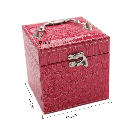 Handheld Portable Fashion High Grade PU Leather Jewelry Box 3 Layers Holder Storage Square Cube Case Watch Necklace Ring Earring AHealth &amp; Beauty<br>Handheld Portable Fashion High Grade PU Leather Jewelry Box 3 Layers Holder Storage Square Cube Case Watch Necklace Ring Earring A<br>