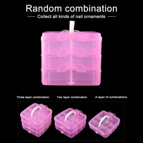 3 Layers Plastic Empty Storage Box Nail Art Rhinestone Tools Jewelry Beads Organizer Container Detachable Makeup Box