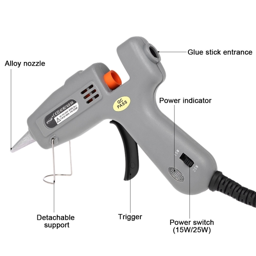 Mini Hot Melt Glue Gun 15 Watt 25 Watt High Temperature DIY Repair 7mm Glue Stick (not included) US PlugHealth &amp; Beauty<br>Mini Hot Melt Glue Gun 15 Watt 25 Watt High Temperature DIY Repair 7mm Glue Stick (not included) US Plug<br>