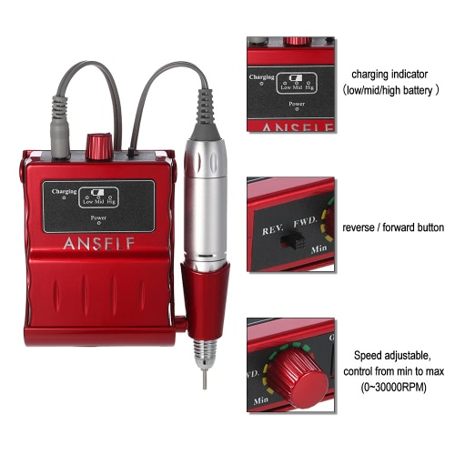 Anself Electric Nail Drill Machine Portable Acrylic Nail Mini Polisher Pedicure &amp; Manicure Kit Rechargeable Nail Nursing Care EU PHealth &amp; Beauty<br>Anself Electric Nail Drill Machine Portable Acrylic Nail Mini Polisher Pedicure &amp; Manicure Kit Rechargeable Nail Nursing Care EU P<br>