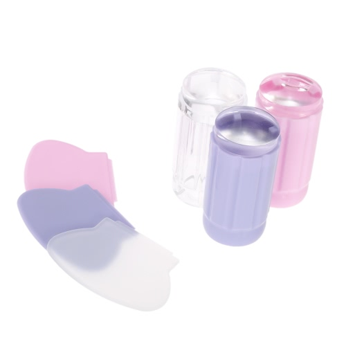 Nail Art Stamper Set Clear Jelly Silicone Stamp Scraper Kit Transparent 2.8cm Nail Stamping ToolHealth &amp; Beauty<br>Nail Art Stamper Set Clear Jelly Silicone Stamp Scraper Kit Transparent 2.8cm Nail Stamping Tool<br>