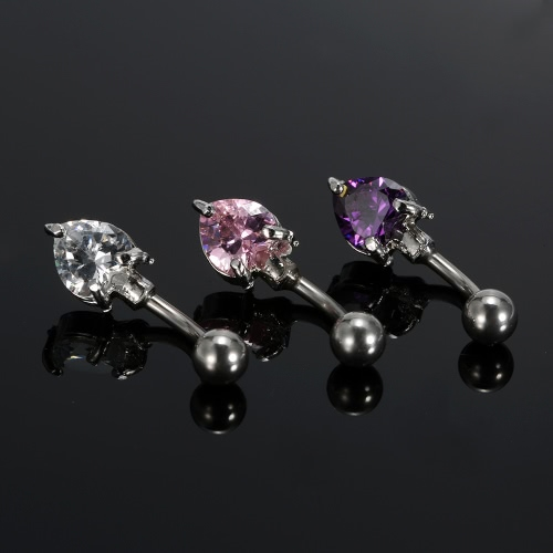 1Pc Belly Ring Navel Button Bar Body Piercing Jewelry Stainless Steel Piercing Bar Heart Shape PurpleHealth &amp; Beauty<br>1Pc Belly Ring Navel Button Bar Body Piercing Jewelry Stainless Steel Piercing Bar Heart Shape Purple<br>