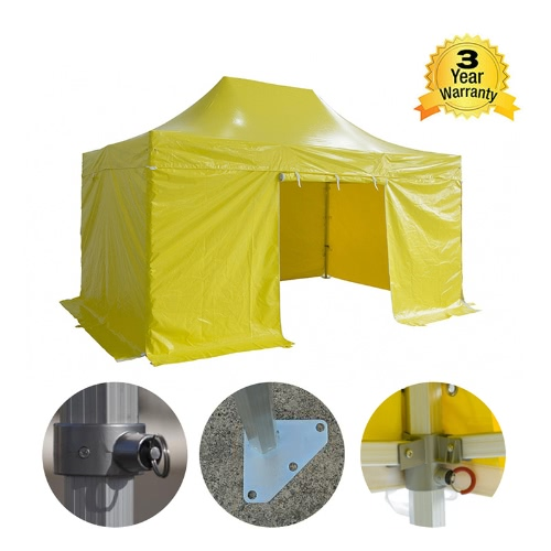 Folding Tent PRO Series 50mm Aluminium Structure + 4 Sides PVC 520g/m? Tarpaulin 3x4.5m for Professional Needs or Daily Use YellowHome &amp; Garden<br>Folding Tent PRO Series 50mm Aluminium Structure + 4 Sides PVC 520g/m? Tarpaulin 3x4.5m for Professional Needs or Daily Use Yellow<br>