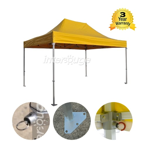 Folding Tent PRO Series 50mm Aluminium Structure in PVC 520g/m? Tarpaulin 3x4.5m  for Professional Needs or Daily Use YellowHome &amp; Garden<br>Folding Tent PRO Series 50mm Aluminium Structure in PVC 520g/m? Tarpaulin 3x4.5m  for Professional Needs or Daily Use Yellow<br>
